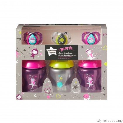 TOMMEE TIPPEE BOLDLY GO 3x260ML BOTTLE + 3x 6-18 MONTH SOOTHER